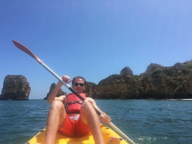 Kayaking to one of the many secluded beaches along the coastline of Lagos.