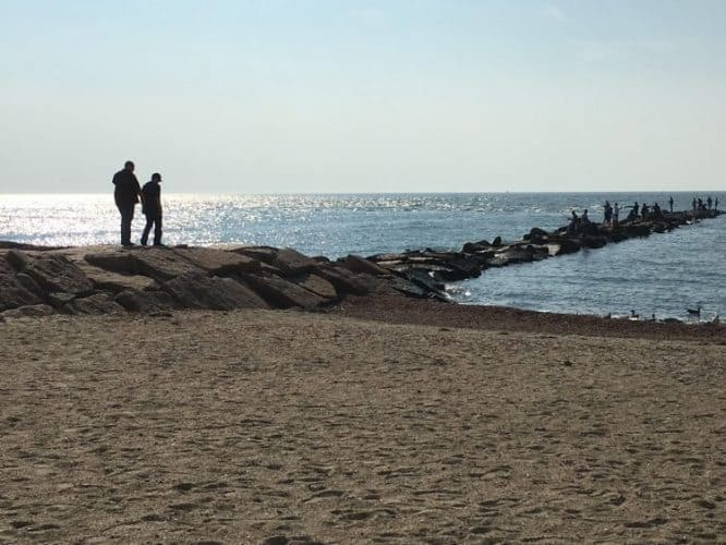 Hammonasset State Park has a nice wide beach for strolling and rocks that kids like to climb and fishermen like to cast from.