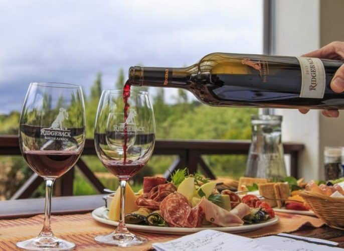 Lunch at Ridgeback Vineyard in South Africa