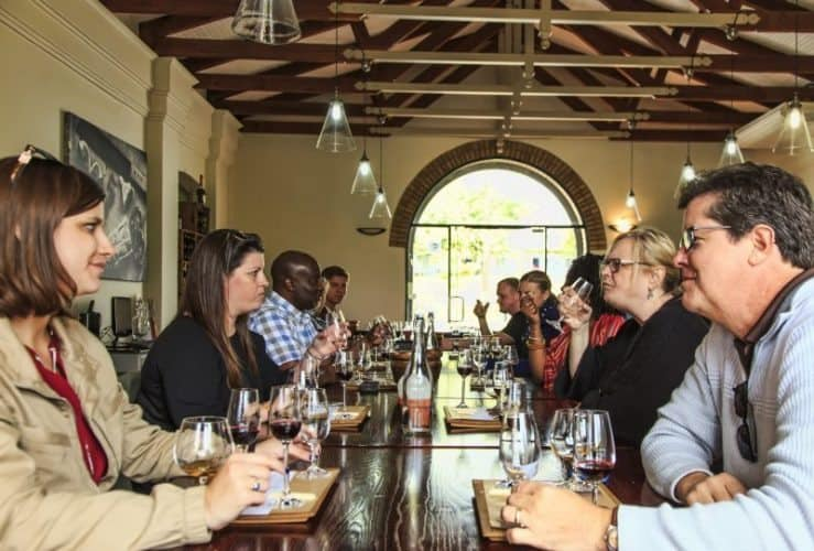A wine tasting at La Borie as a social event.