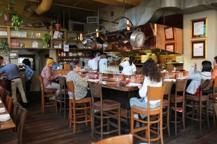 Inside Le Pigeon restaurant