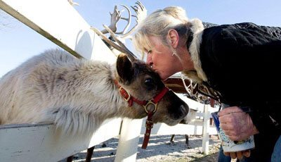The owner, Julie, performing a reindeer kiss.
