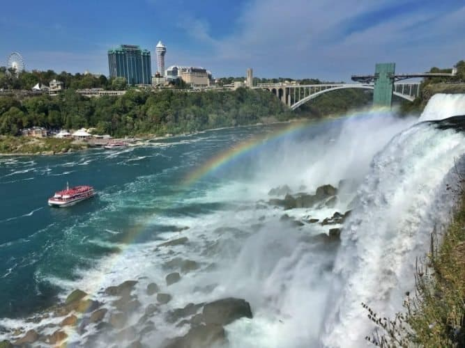 Visiting Niagara Falls is not complete without riding the Maid of the Mist boat, soaking in the mist and cheering at the rainbows, with Toronto skyline in the background! Trupti