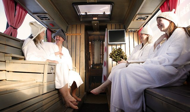 The saunabus is one of the nine different saunas on the tour.