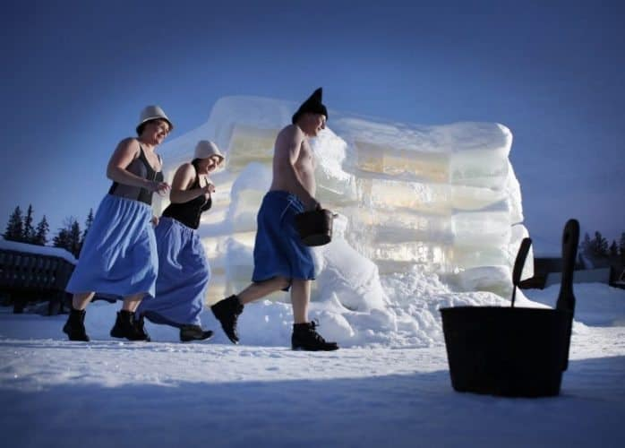 The ice sauna is a hot sauna built from blocks of ice.