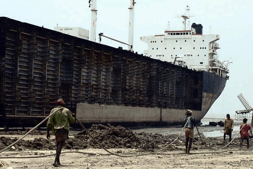 Shipbreaking in Chittagong, Bangladesh.