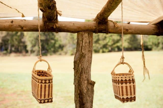 Handwoven baskets made by three generations of Cherokee women