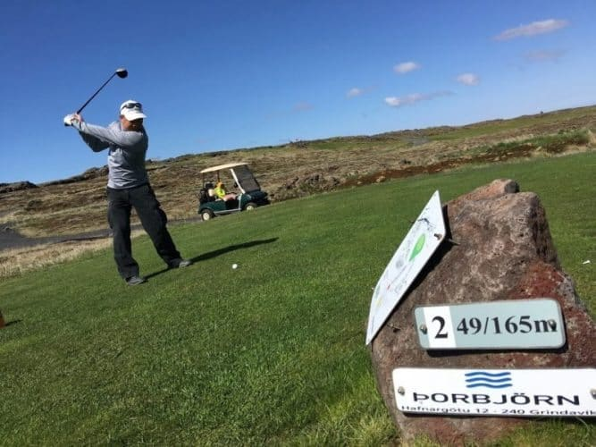 We rented a cart at the Gindavik Golf Course and were definitely in the minority. The other golfers were encountered were using pull carts. OR Distance is posted in meters at Icelandic golf courses.