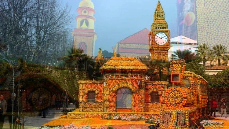 A church made of lemons and oranges in the Provence, France town of Menton.