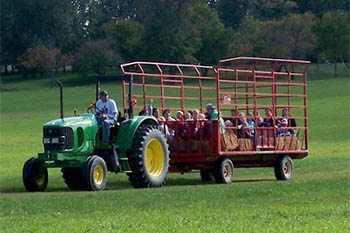 Children at Nickajack fields enjoy the hayride.