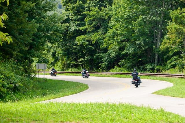 Motorcyclists enjoying the twisting Cherohala Skyway