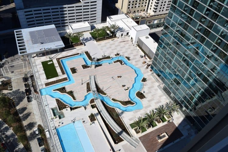 The Texas-shaped lazy river at the Marriott Marquis in Houston. Visit Houston photo.