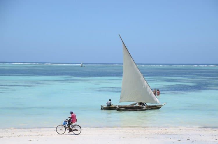 A lazy beach in Zanzibar, Tanzania.