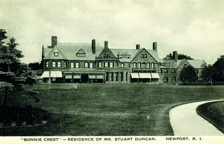 """As Time Goes By. c.1920. """"Bonnie Crest""""-Residence of Mr. Stuart Duncan, Newport, R.I. Built between 1912 and 1916 on Harrison Avenue for Worcestershire Sauce Chairman Duncan. Architect John Russell Pope copied the manor of Lord Northcliffe in Worcestershire, England. Today the home is divided into condominiums."""
