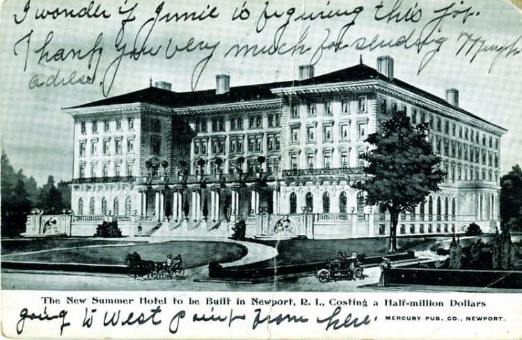 As Time Goes by. The New Summer Hotel to be Built in Newport, R.I. Costing a Half-Million Dollars. c. 1906. This hotel was never built; very similar to the back view of The Breakers. It is known that James Gordon Bennett commissioned architect Whitney Warren in 1893 to design a Beaux-Arts style hotel complex next to Bennetts' Stone Villa on Bellevue Avenue.
