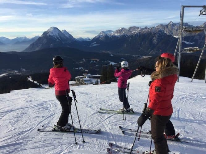Getting set to ski in the Alps on the Best of the Alps trip.