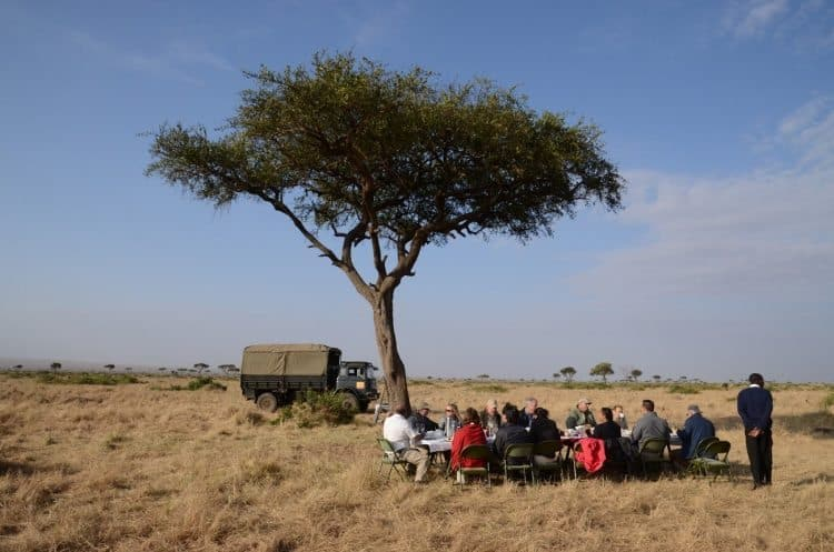 A Champagne breakfast in the African plains.
