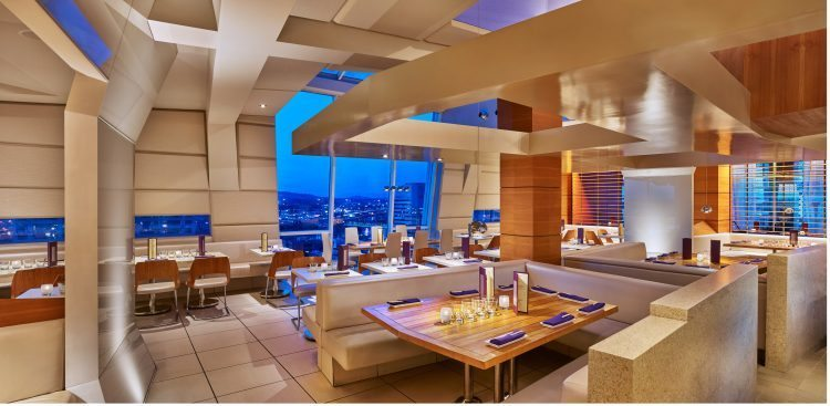 Departure's Dining Room, with a dramatic city view of Portland, Oregon.
