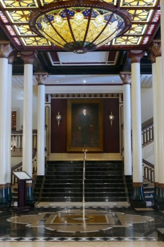 The ornate lobby of the historic Driskill Hotel in Austin, a favorite of LBJs.