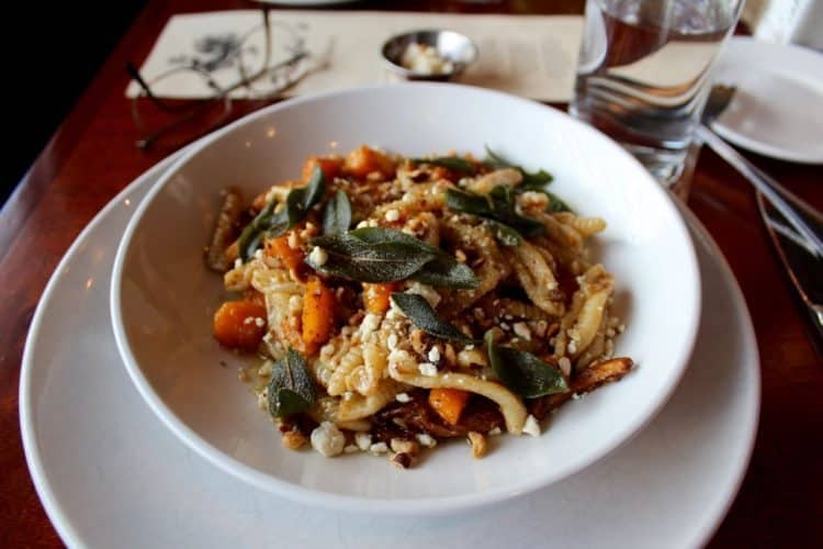 Homemade pasta with butternut squash and chanterelles