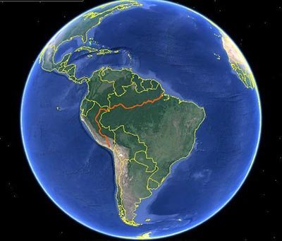 A future goal of Dowlings is to travel 4000 miles up and down the Andes in Peru with the bathtub following this route.