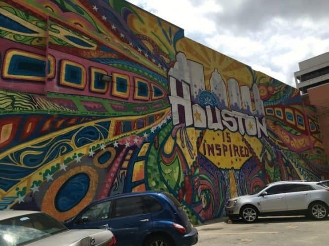 Houston is Inspired is a famous mural near Market Square Park, painted to local artist Gonzo247. Max Hartshorne photos.