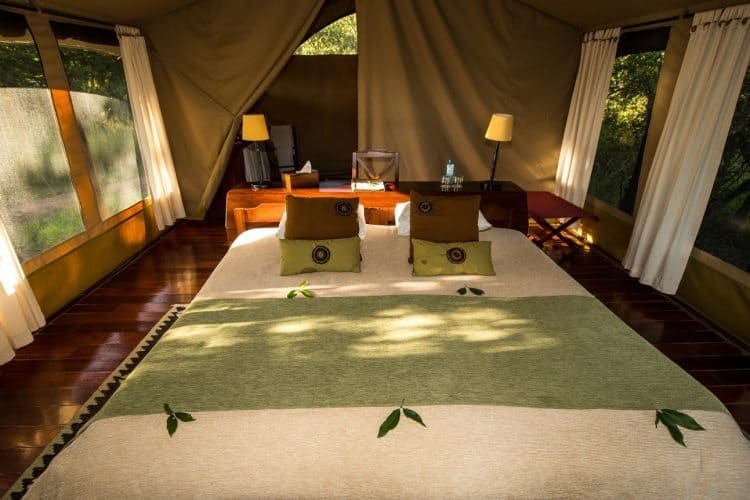 Luxe tents at the Karen Blixen Camp in Kenya.