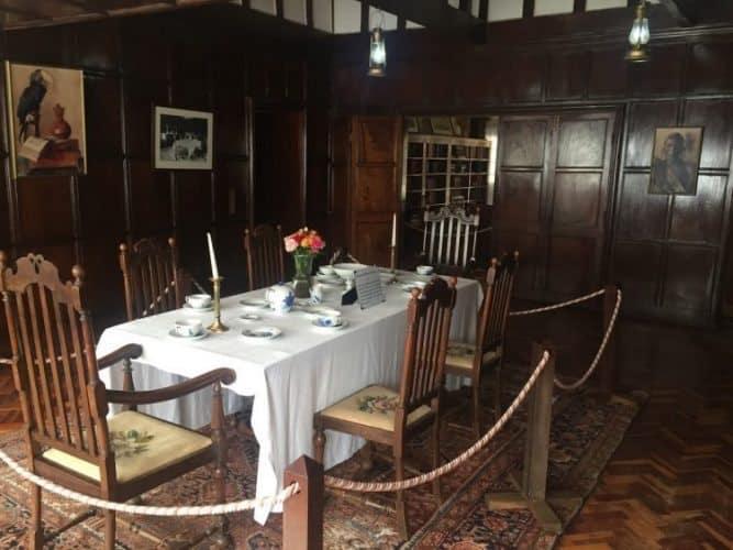 The dining room at the Karen Blixen museum.