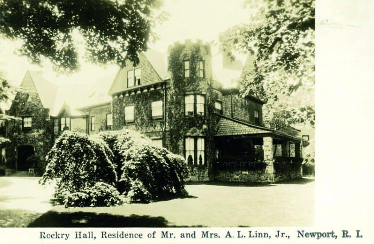 As Time Goes By. Rockry Hall, Residence of Mr. and Mrs. A.L. Linn, Jr. Newport, R.I. c. 1910. Located at the intersection of Bellevue and Narragansett. Known as the Albert Sumner House. Built in 1848 with later additions in 1888. A private residence today.