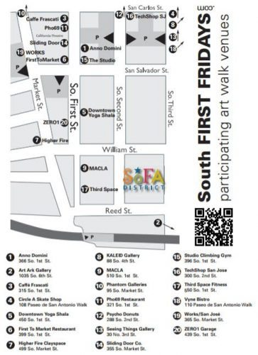 Map of the San Jose South First Fridays Art Walk