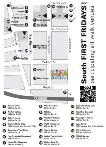 Map of the San Jose South First Fridays Art Walk