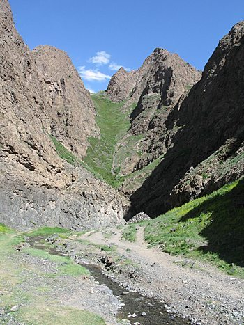 A hike along the Yol Stream leads to glacier remnants, even in July in Mongolia.