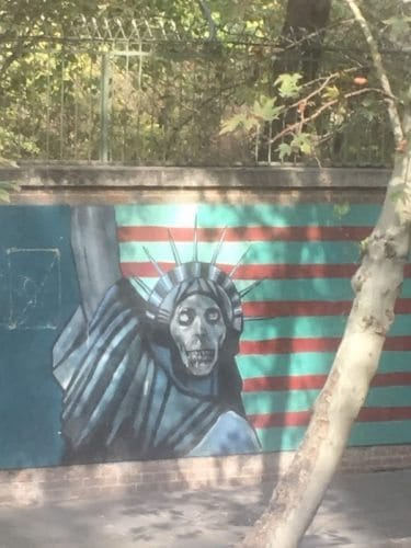 Anti US posters are a common site in Tehran, especially near the former US embassy.