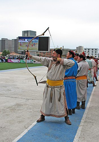 Archers compete at the Naadam Games in Ulaanbaatar, Mongolia.