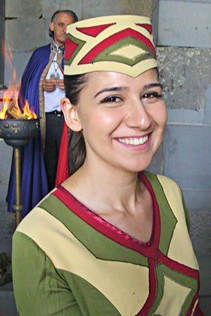 Armenian woman in Armenian national dress—a taraz.