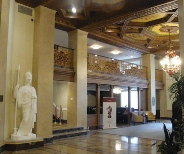 The lobby of the Hotel Syracuse, now the Marriott Syracuse Downtown