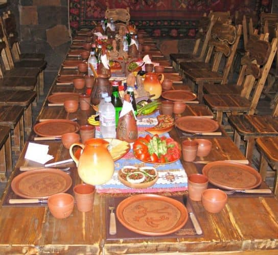 A feast at Gyumri's Triangle restaurant in Armenia.