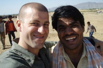 Matt with his non-alcoholic Indian friend Namo, who he met at the Pushkar Camel Fair in India.