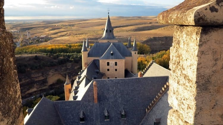 Roof top view showing how the castle protected Segovia, Spain. Tab Hauser photos.
