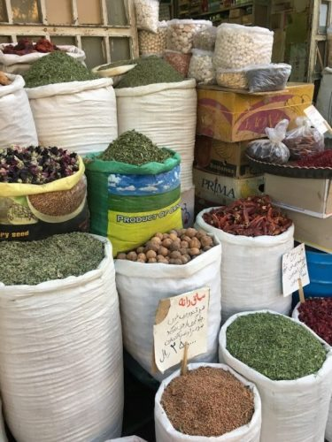 Spices in a bazaar in Iran.