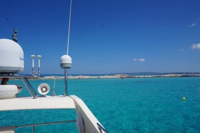 View of Formentera from the yacht.