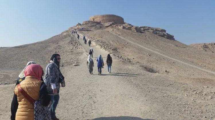 A Zoroastrian burial site in desert in Iran.