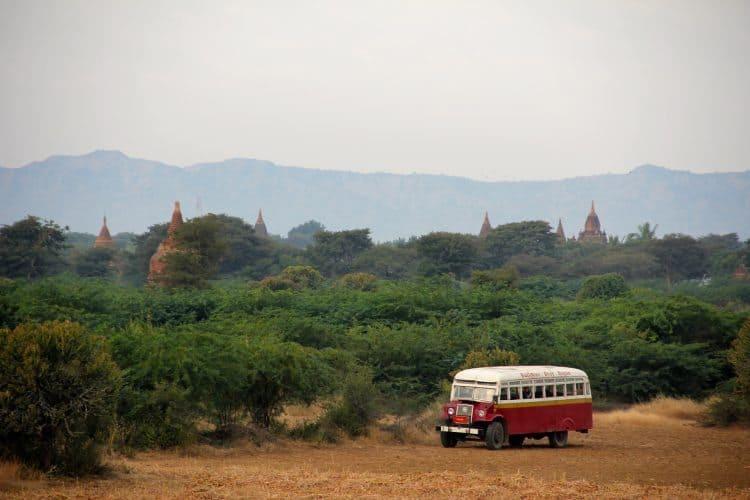 A bus in Bagan, Myanmar.