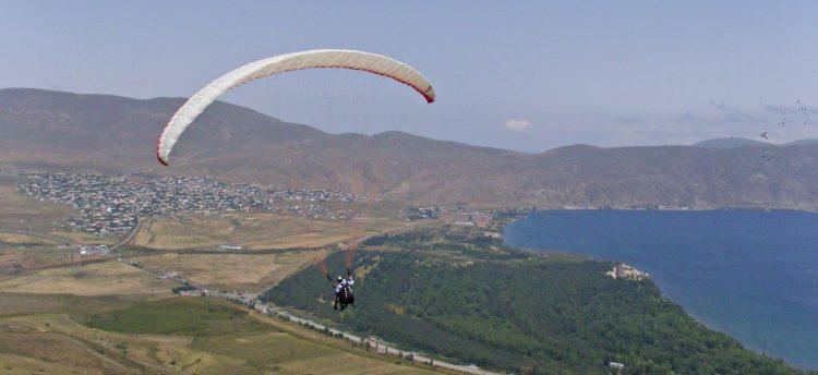 Paragliding above Armenia's Lake Sevan.