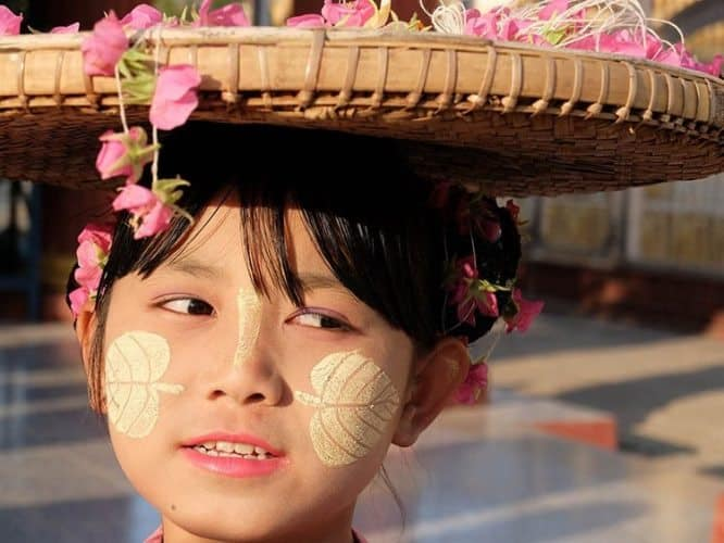 A Burmese girl with thanaka.