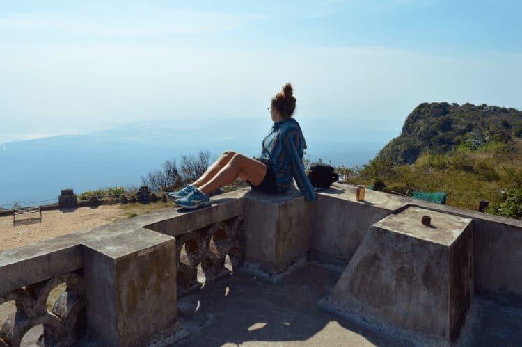 Enjoying the view at former casino atop Bokor mountain in Kampot.
