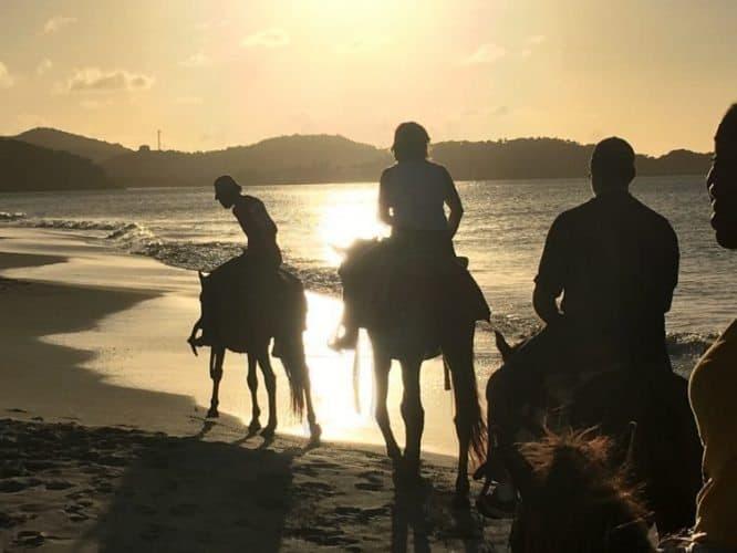 Riding horses on Fort Beach in Antigua-Barbuda. Max Hartshorne photos.