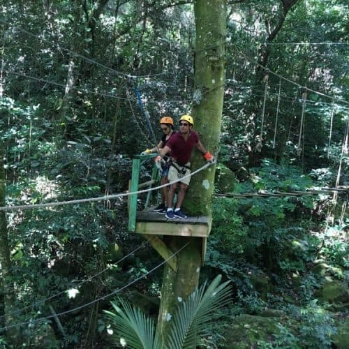 Zip lining through the rain forest in Antigua.