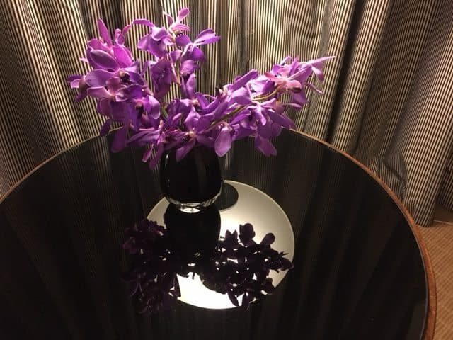 At the Sofitel, orchids decorate the rooms, a classy touch.