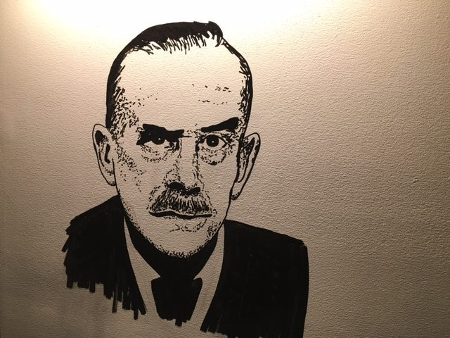 A mural on the wall of one of the three rooms devoted to famous authors.